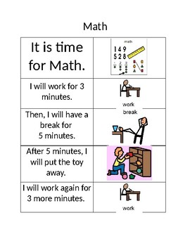 Work Break Social Story for Reading and Math