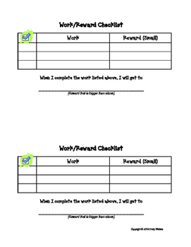 Work Checklist with Incentives