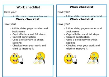 Work Checklists (for pupils desks)