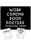 Work Coming Soon Signs Ocean Sea Theme