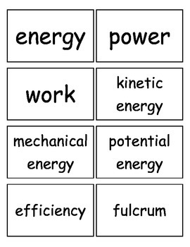 Work, Energy and Machines, and Electricity Flashcards, Middle School Science