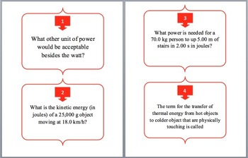 Work, Energy and Power - Task Cards and UNIQUE Activity