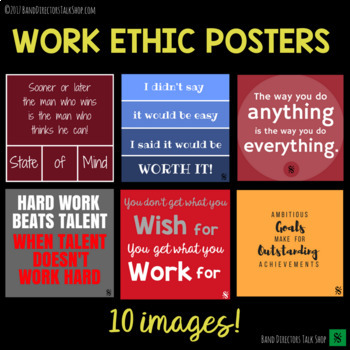 Work Ethic Quote Posters - Band Hall Bulletin Board Set and Room Décor
