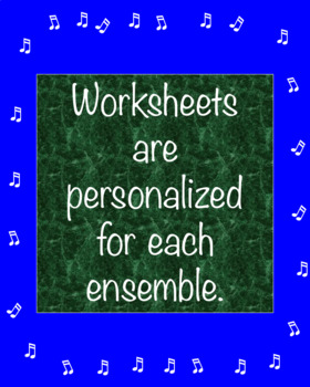 Work Ethic Worksheet for Band, Chorus and Orchestra