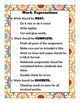 Work Expectations Poster