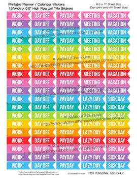 Work Flag Planner Stickers printable day off sick day vacation payday meeting