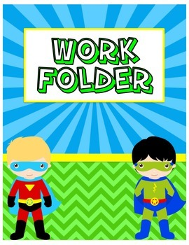 Work Folder Cover with Superhero Boys