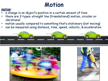 Work, Force & Motion Lesson/Flashcards-task cards, study guide