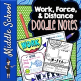 Work Force and Distance Doodle Notes   Science Doodle Notes