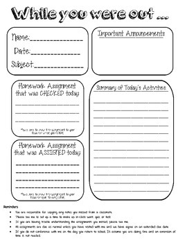 Work Form for Absent Student