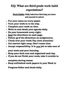 Work Habit Expectations