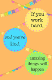 Work Hard Be Kind Poster - orange