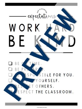 Work Hard Be Kind Expectations Poster