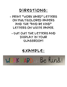 Work Hard and Be Kind Classroom Decor