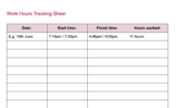 Work Hours Tracking Sheet