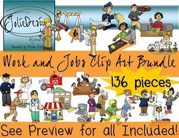 Work Jobs and Careers Clipart Mega Bundle  - Color & Line Art HUGE 136 piece set