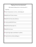 Beginning of Year Parent Questionnaire
