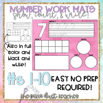 Work Mats Numbers 1-10 NO PREP PRINTABLE
