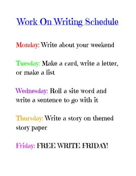 Work On Writing Schedule for Daily 5