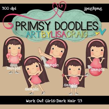 Work Out Girls-Dark Hair 300 dpi Clipart