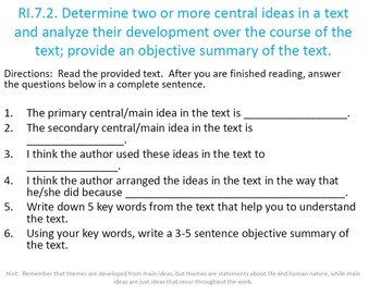Work Period Task Cards for Informational Text: (No Prep)