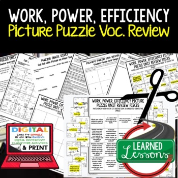 Work, Power, Efficiency Simple Machines Picture Puzzle Study Guide Test Prep