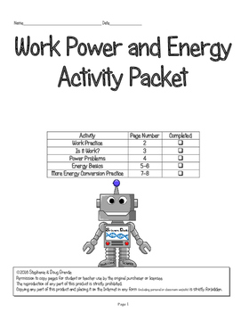 Work - Power - Energy Activity Packet (honors) 5th, 6th, 7th, 8th, Homeschool