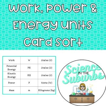 Work, Power & Energy Units Cardsort