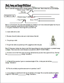 Work, Power, Potential, and Kinetic Energy Practice Worksheet and ...