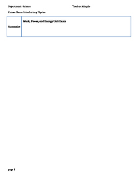 Work, Power, and Energy Unit Plan