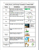 Work, Power, and Energy Vocabulary and Study Guide