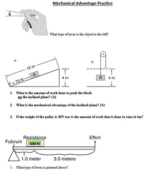 Work, Power, and Simple Machines Test with QR Code and Lab Review