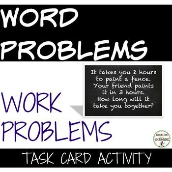 Work Problem Word Problems Task Card Activity for Problem solving