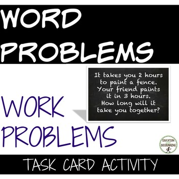 Work Problem Word Problems Task Card Activity for Problem solving