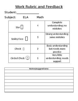 Work Rubric and Feedback Form (Editable)