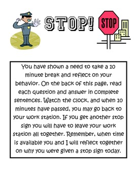 Work Station Behavior Redirect Sheet- FREEBIE!