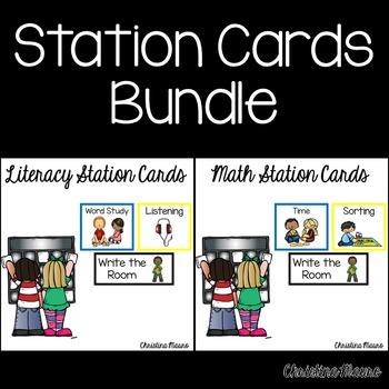 Work Station Cards - Literacy & Math