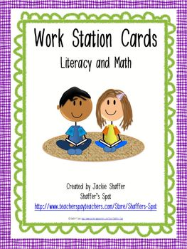 Work Station Cards: Literacy and Math