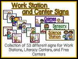 Work Station Cards and Signs-Literacy Centers and Free Centers