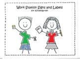 Work Station Signs and Labels for Kindergarten