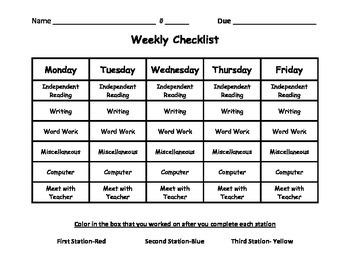Work Station Weekly Checklist