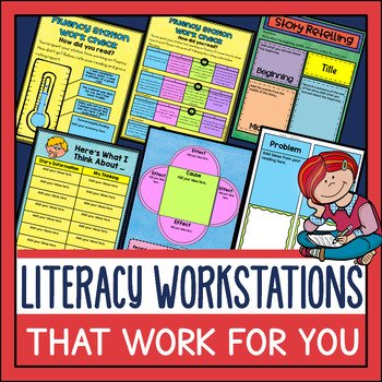 This resource makes planning for workstations easier. It too is in digital and PDF. The stations focus on word work, fluency, comprehension, and writing. It's best for grades 2-5 and is adaptable.
