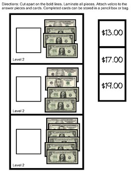 Work Task Box  Counting Bills to up $20.00 Like and Unlike