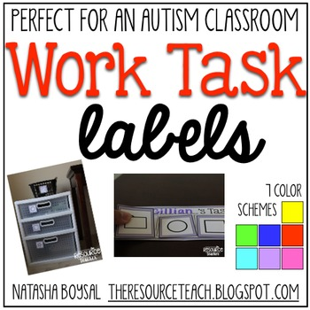 Work Task Labels (Special Education/Autism Classroom)