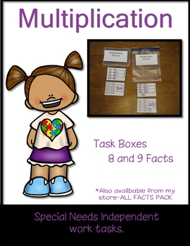 Work Tasks Cards Multiplication 8 and 9 Facts