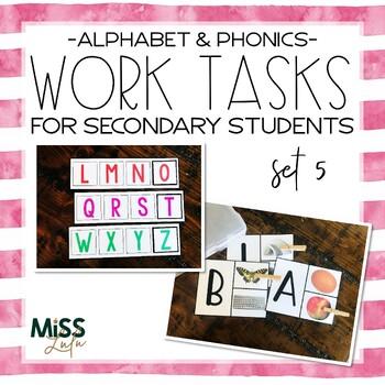 Work Tasks for Secondary Students {Alphabet & Phonics}