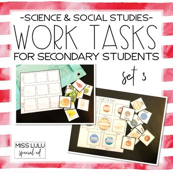 Work Tasks for Secondary Students {Science & Social Studies}