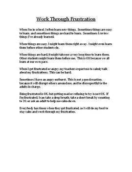 Work Through Frustration Social Story_ Upper Elementary - High School