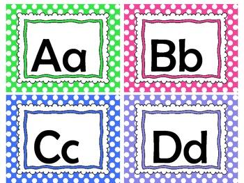 Work Wall ABC cards (polka dot)