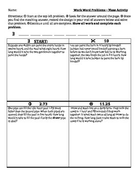 Work Word Problems Maze